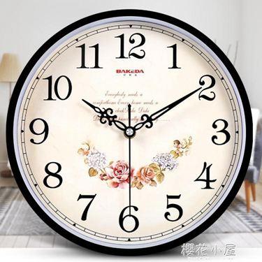 鐘表掛鐘客廳現代圓形簡約時鐘家用靜音創意時尚掛表電子石英鐘居家物語生活館