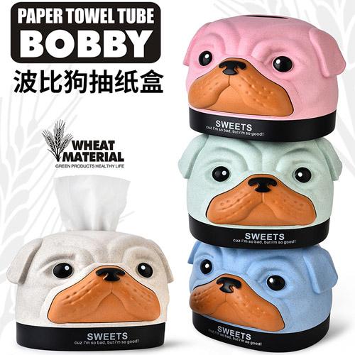 小麥秸稈狗頭餐巾紙盒 波比狗紙巾盒 沙皮狗面紙盒