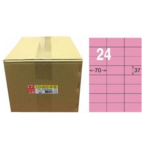 【龍德】A4三用電腦標籤 37x70mm 粉紅色 1000入 / 箱 LD-802-R-B