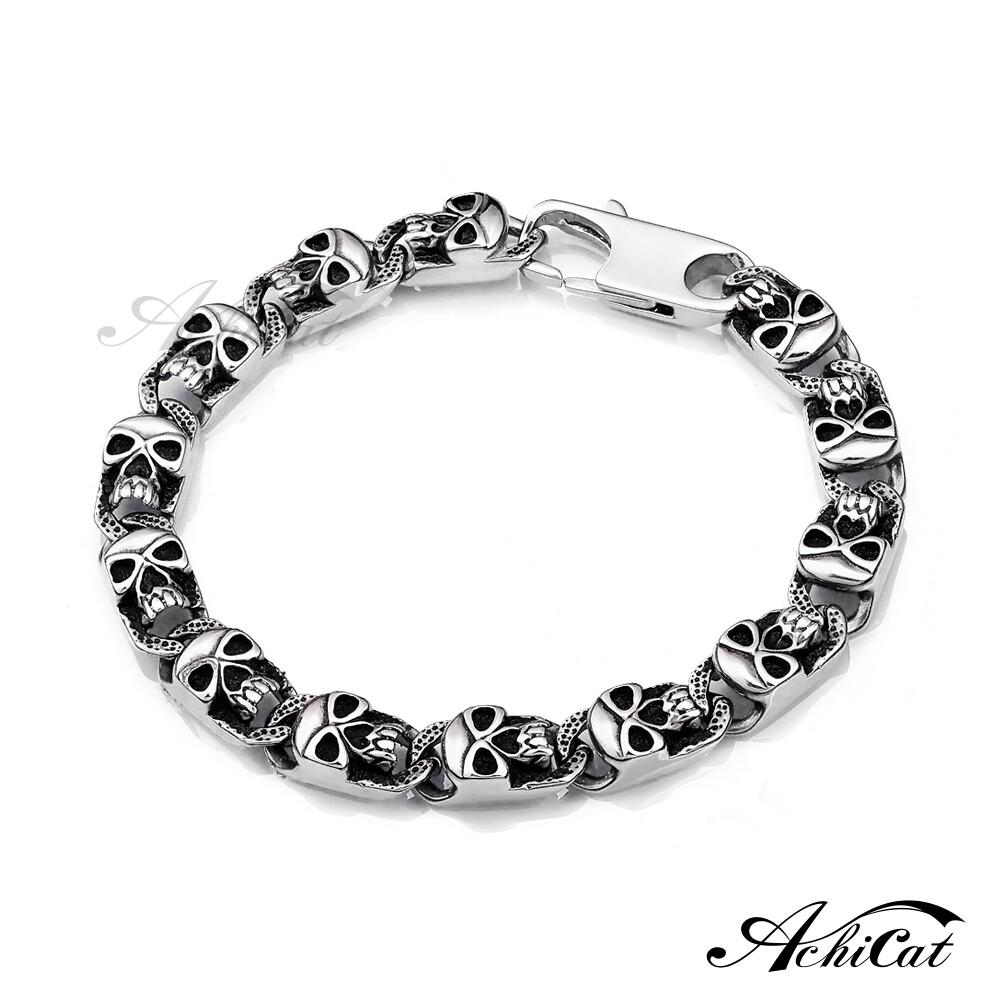 achicat 鋼手鍊 白鋼手鍊 恐懼深淵 骷髏手鍊 個性手鍊 生日禮物 h3008