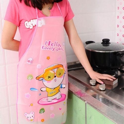 可愛卡通防水防油圍裙 韓版時尚廚房無袖圍裙