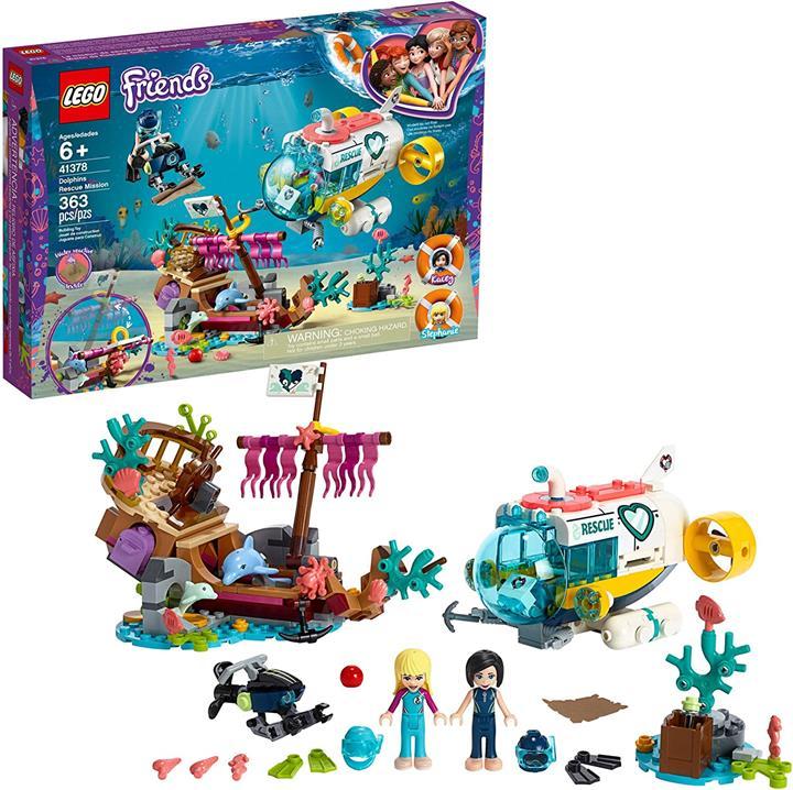 LEGO 樂高 Friends Dolphins Rescue Mission 41378玩具潛水艇和海洋生物的建築工具包(363件)