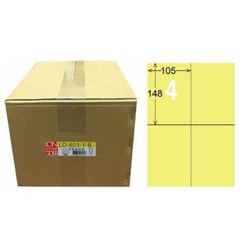 618購物節【龍德】A4三用電腦標籤 148x105mm 淺黃色 1000入 / 箱 LD-803-Y-B