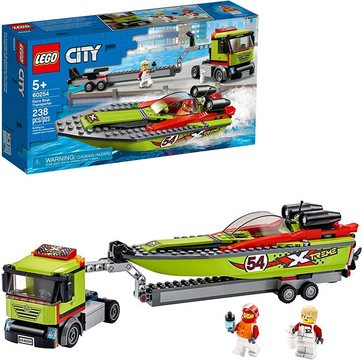 LEGO 樂高 City Race Boat Transporter 60254 Race Boat Toy Fun Building Sets for Kids New 2020(238 Piece