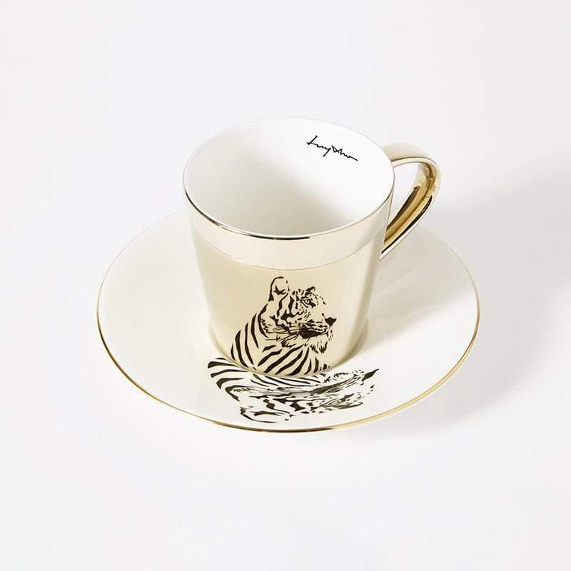 鏡面倒影動物圖案咖啡杯-老虎 光滑杯面