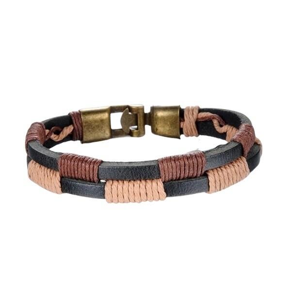 米蘭精品真皮手環 鈦鋼手鍊-雙色混搭編織皮革男飾品73cq38