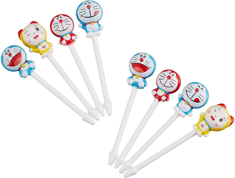 哆啦A夢Doraemon 8入食物叉,水果叉/牙籤/餐叉/小叉子/裝飾叉/食物叉,X射線【C735119】