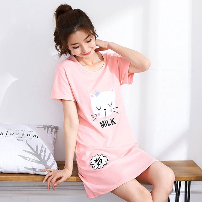 可愛貓咪粉色居家服睡裙SL8348 廠商直送 現貨