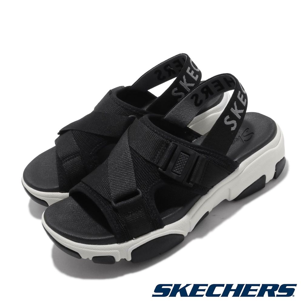 SKECHERS 涼拖鞋 Daddy-O-Dibs 女鞋 厚底 增高 鬆緊帶 夏日 穿搭 透氣 黑 白 [163051BLK]