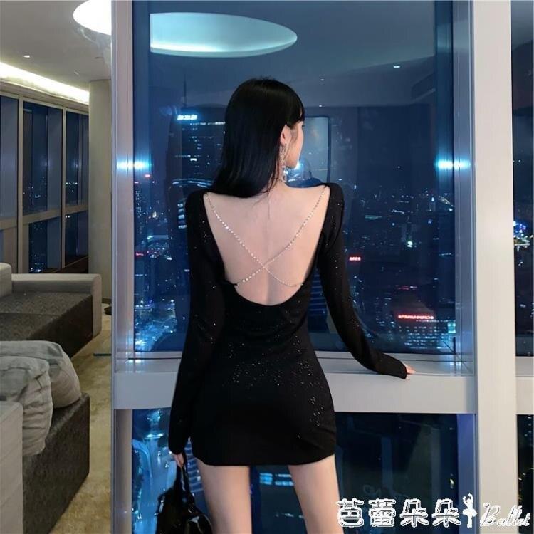 火爆夯貨~露背洋裝 黑色性感露背洋裝女裝春季新款韓版小禮服氣質緊身包臀短裙-