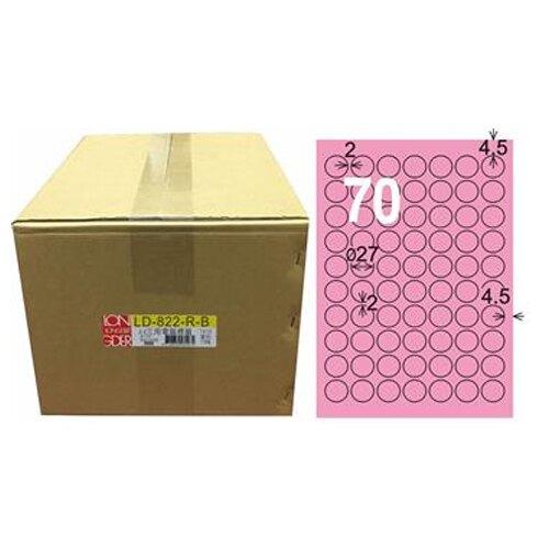 618購物節【龍德】A4三用電腦標籤 27mm 粉紅色 1000入 / 箱 LD-822-R-B