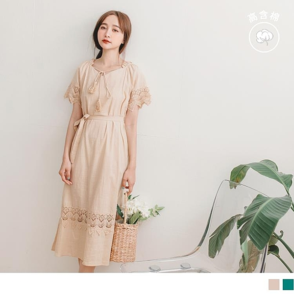 《DA7655-》高含棉浪漫蕾絲拼接流蘇綁帶寬鬆長洋裝-附腰帶 OB嚴選