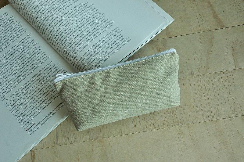 ENDURE/限定款式/大尺寸筆袋附2個拉鍊暗袋/淺卡其色水洗帆布