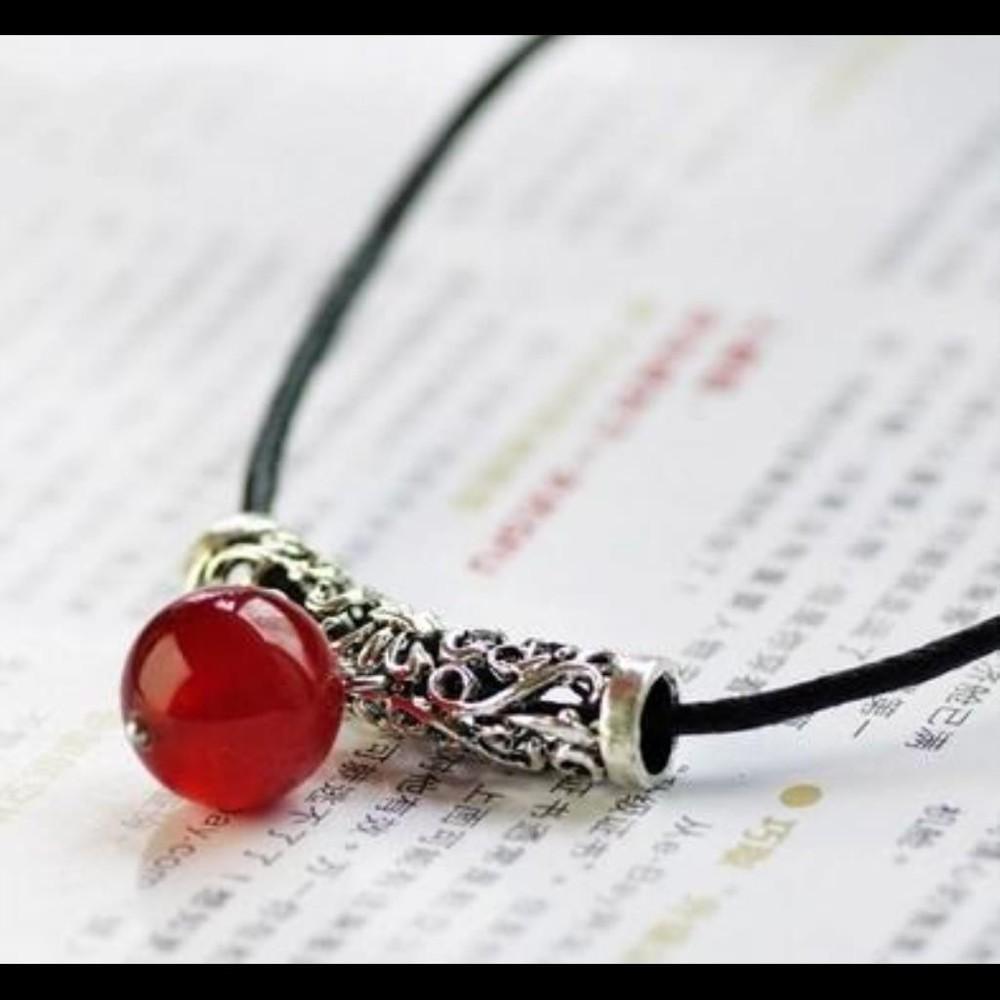 復古原創天然紅瑪瑙苗銀項鍊女款本命年開運民族風飾品