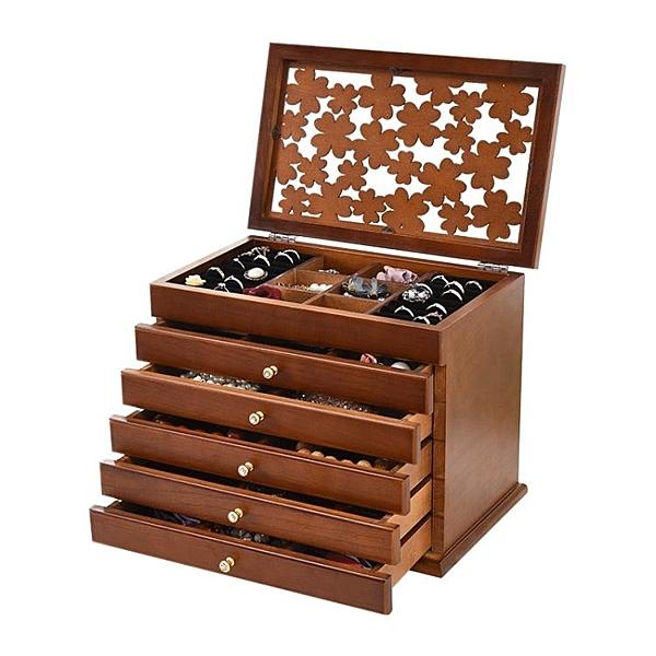 首飾盒 女木質化妝盒首飾收納盒飾品盒手飾耳環收納盒公主歐式韓國 小宅君嚴選