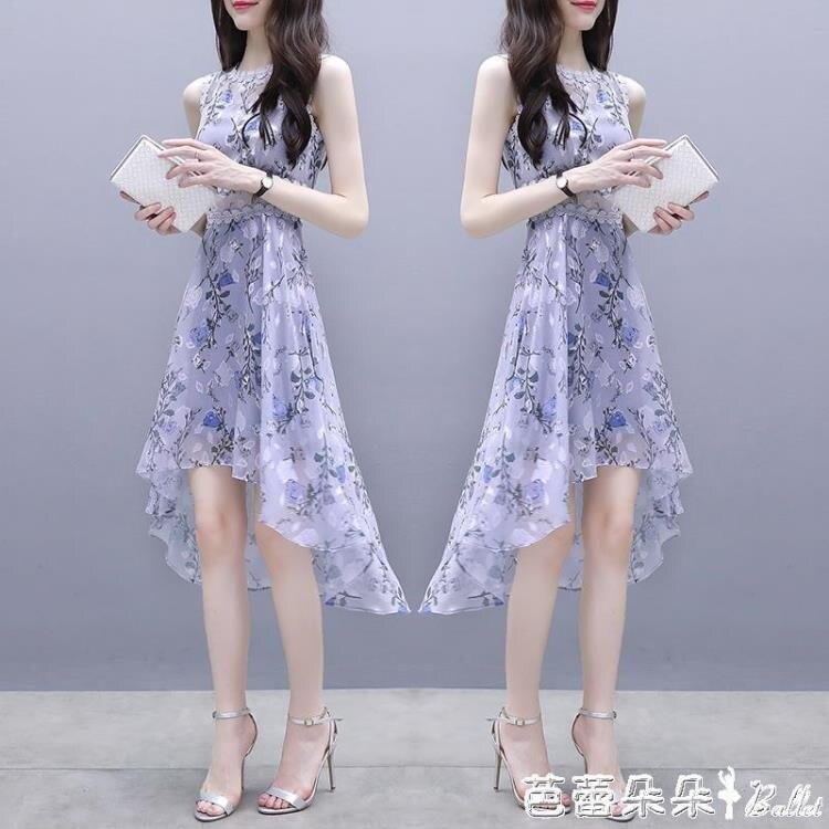 火爆夯貨~無袖洋裝 碎花洋裝女夏2020新款港味中長裙子雪紡印花無袖溫柔仙女裙收腰-
