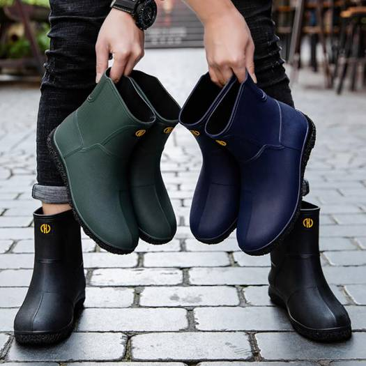 歐美時尚男雨鞋中筒雨靴防滑水鞋短筒加絨膠鞋廚房洗車釣魚工作鞋