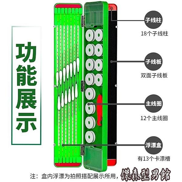 釣魚漂盒硅膠多功能三層漁具盒浮漂盒塑料子線盒主線盒三合一套裝 傑森型男館