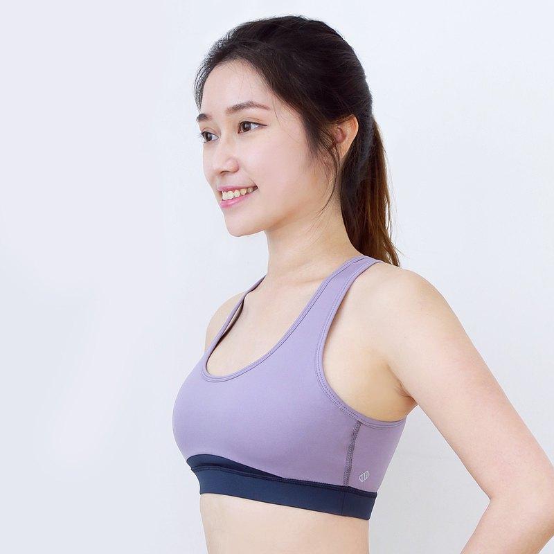 MARSHMARO BAGEL 拼色高包覆收副乳美胸運動內衣 - 香芋紫