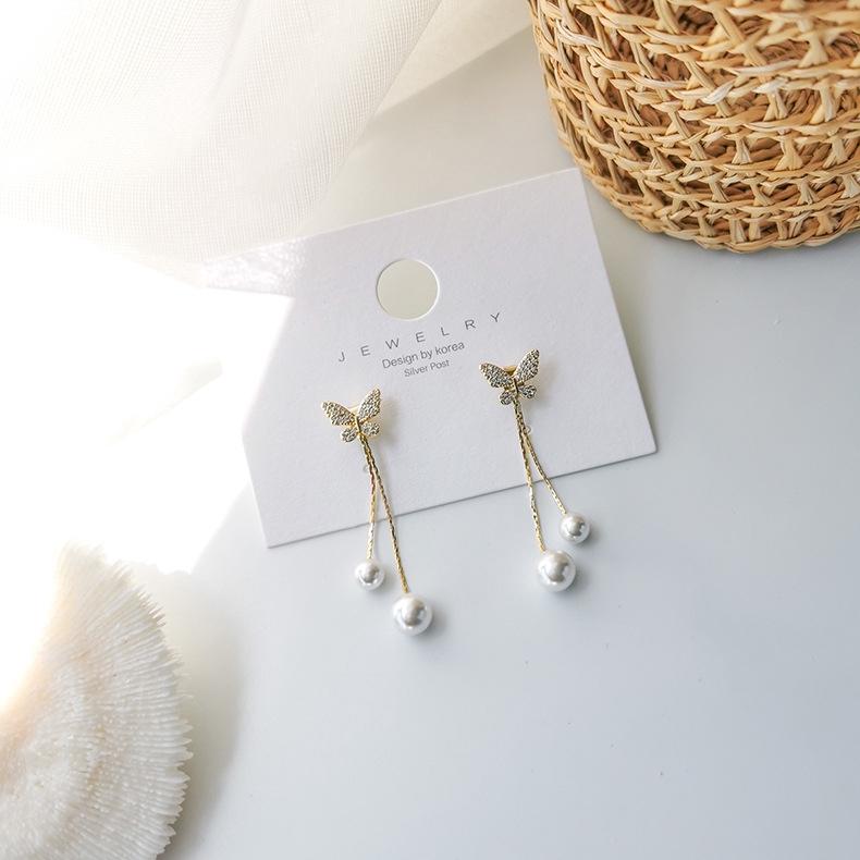 韓版蝴蝶長款耳飾 925銀針 鋯石 珍珠 防過敏 微鑲 針式 流蘇 垂墜耳環 純銀耳環