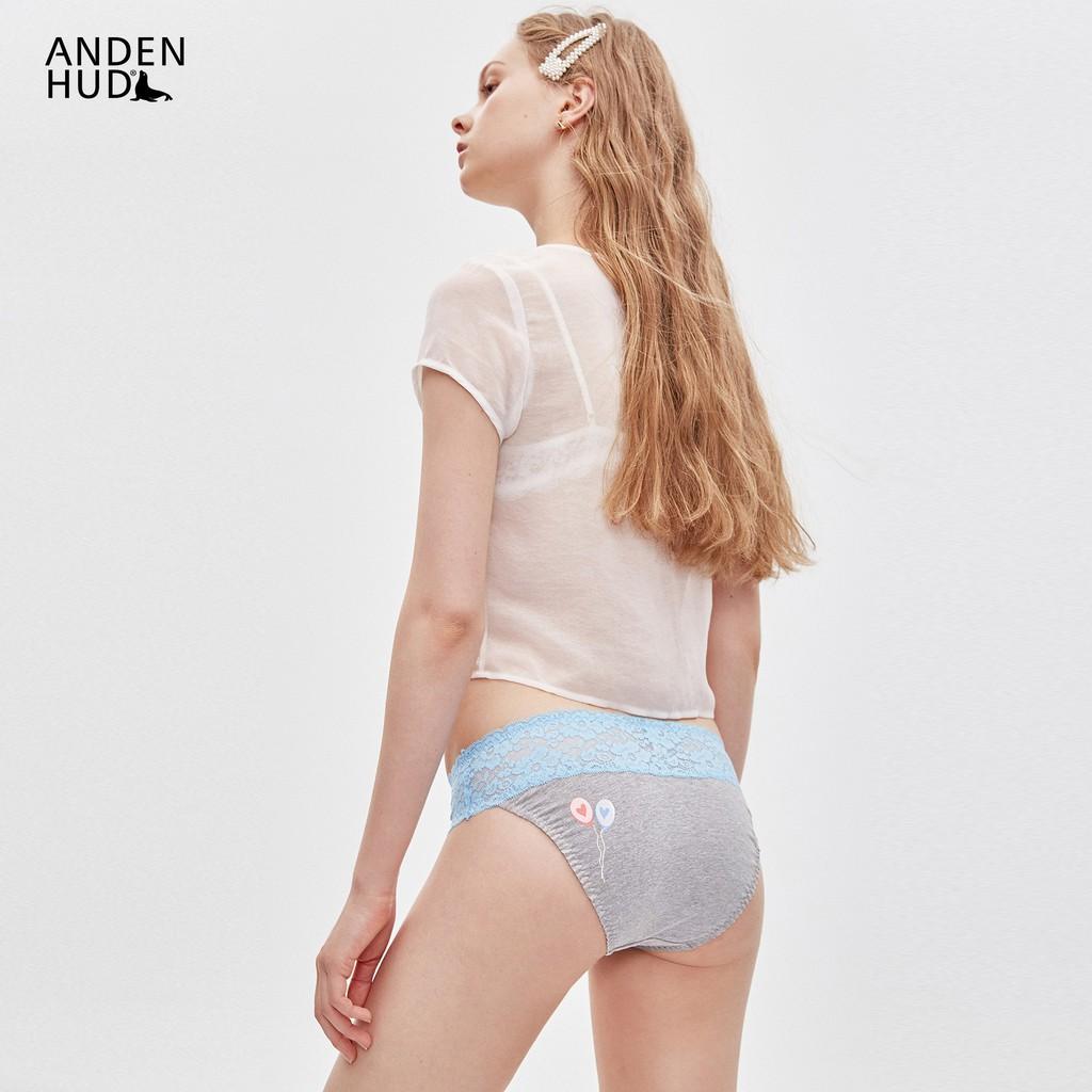 【Anden Hud】SweetDream.抓皺蕾絲中腰三角內褲(麻灰-汽球) 台灣製