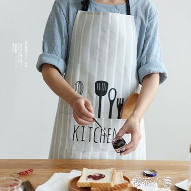 北歐風布藝創意圍裙正韓時尚面包店廚房家居半身圍裙QJ-4居家物語生活館