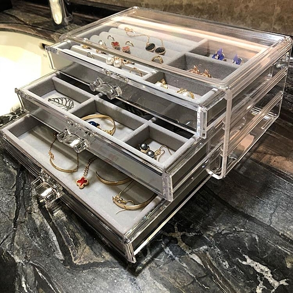 首飾盒 桌面抽屜式超大耳釘項鍊耳環首飾盒亞克力透明飾品盒首飾收納盒 小宅君嚴選