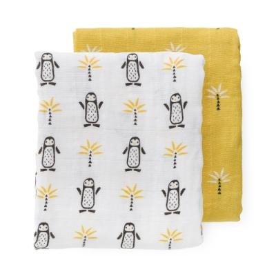 荷蘭 FRESK 有機棉嬰兒棉紗包巾2入組禮盒 (小企鵝)