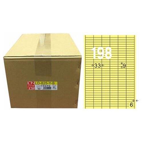 【龍德】A4三用電腦標籤 9x33mm 淺黃色 1000入 / 箱 LD-825-Y-B