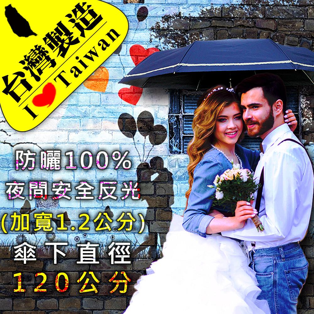 雨傘達人台灣製造傘下直徑120公分甜蜜情人加大雙人手動三折傘不沾水/防曬100%降溫8度