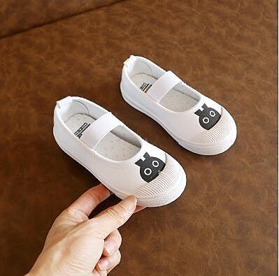 芭萌鴨正兒童帆布鞋男女童幼兒園室內外魔術貼寶寶布鞋小白鞋 滿天星