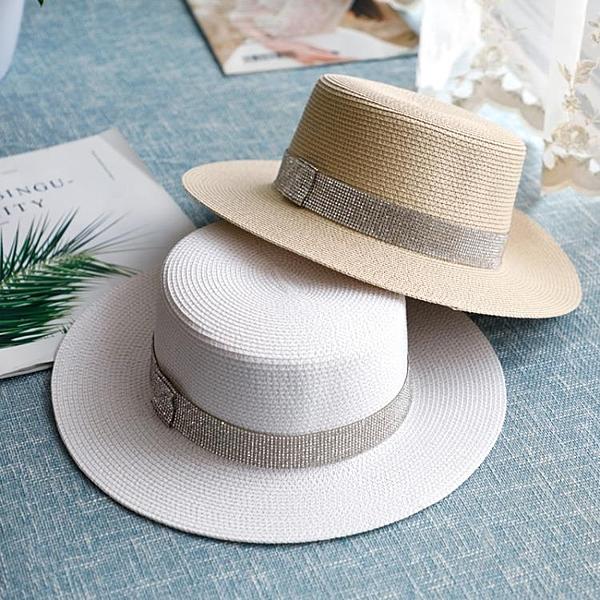 紳士帽 網紅赫本風女夏法式百搭平頂爵士小禮帽草帽英倫復古防曬遮陽帽子 薇薇