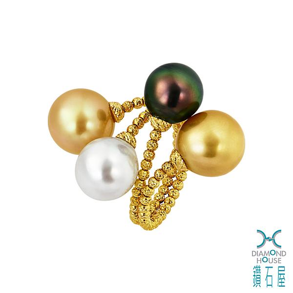 【鑽石屋】三色南洋珠戒指