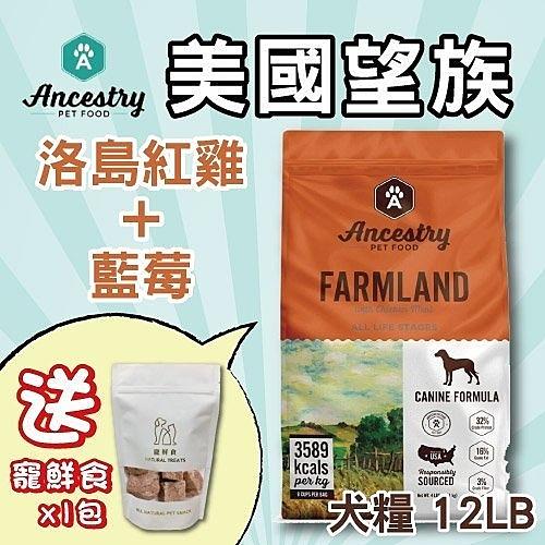 48H出貨*WANG*Ancestry 美國望族 天然犬糧(無穀系列)洛島紅雞+藍莓 12LB/包