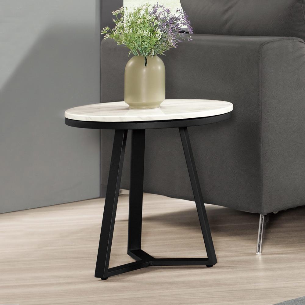 Boden-伊利1.7尺工業風圓型石面小茶几/邊几/邊桌