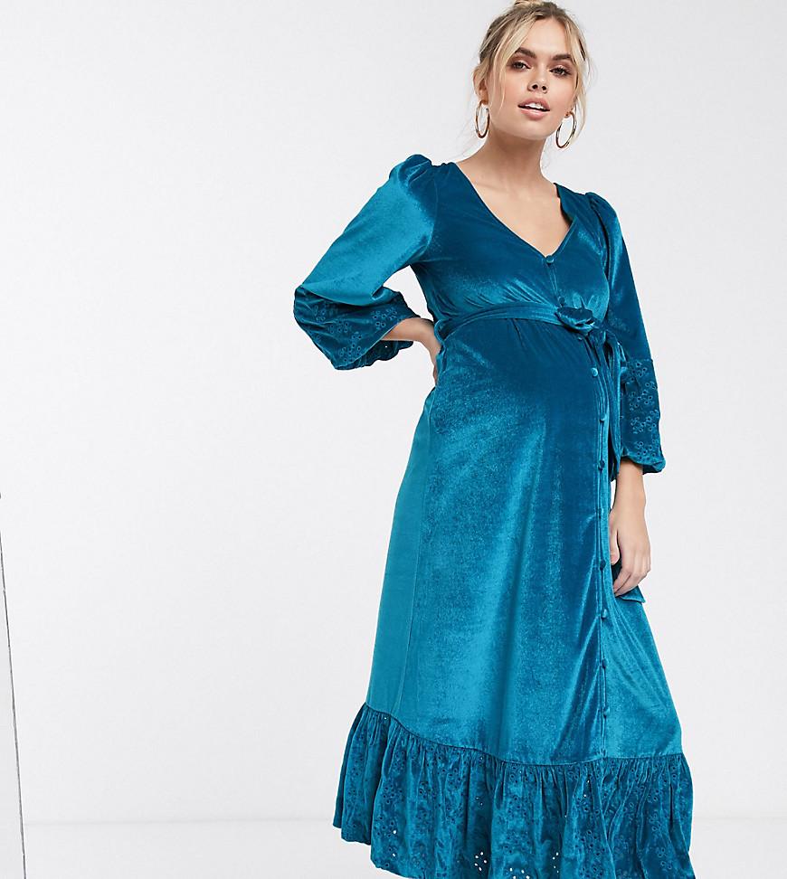 ASOS DESIGN Maternity midi wrap dress in velvet broderie in aqua-Blue