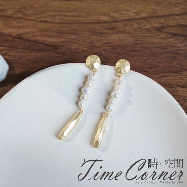 『時空間』寧靜高雅不規則切面珍珠垂墜耳環 -單一款式