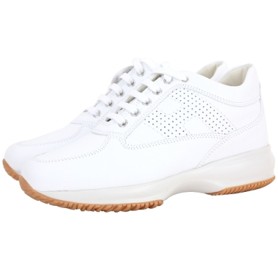 HOGAN Interactive H LOGO 穿孔皮革繫帶老爹鞋(白色)