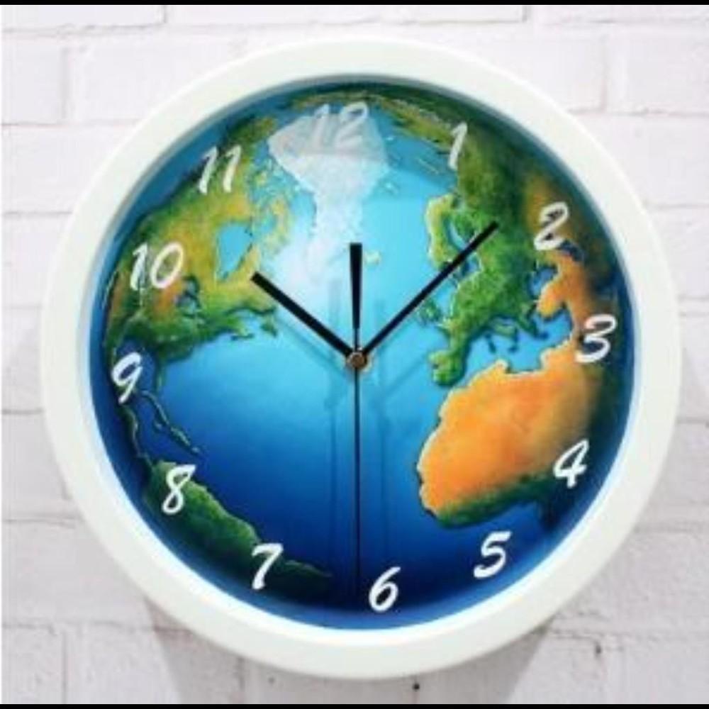 神話立體效果地球掛鐘時鐘錶石英鐘地球壁鐘牆面鐘客廳臥室