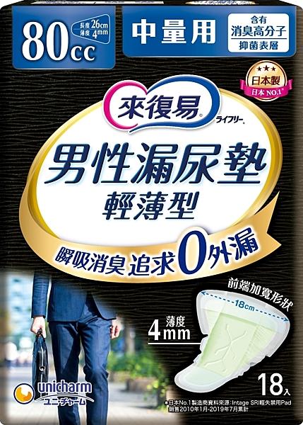 來復易男性漏尿專用棉墊中量型80cc(18片/包)