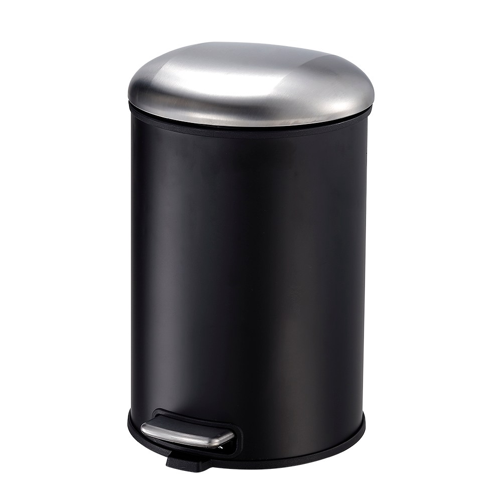 HomeZone艾朵緩降垃圾桶12L黑+銀