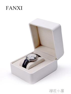 凡西FANXI新款手錶禮品盒(圓角)pu皮手錶包裝盒車線工藝黑白色居家物語生活館