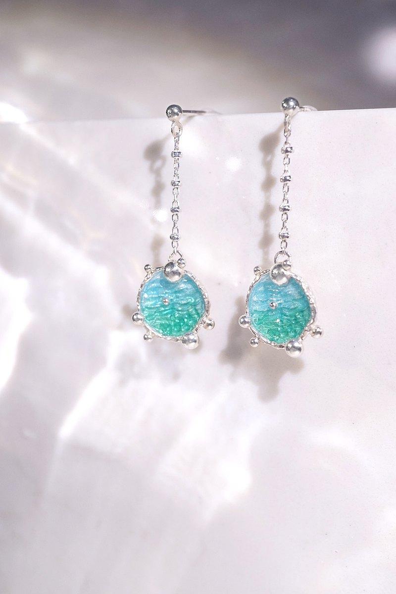 海洋系列-湛藍琺瑯銀耳環-----垂吊耳環-圓款
