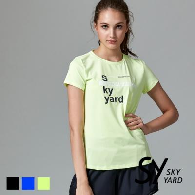 【SKY YARD 天空花園】SKY YARD 拼字印圖設計運動T恤-螢光黃
