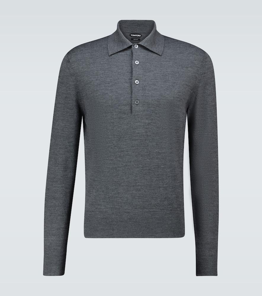 Wool long-sleeved polo shirt