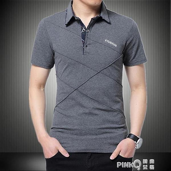 2020夏加大碼短袖T恤男寬全棉有帶領成熟汗衫爸爸半袖POLO衫5XL (pinkq 時尚女裝)