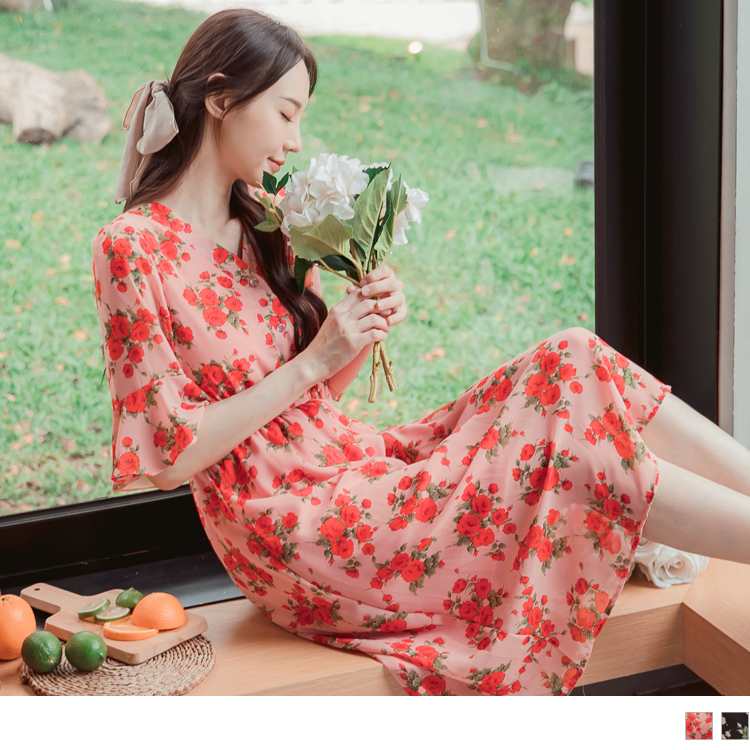 優雅女神印花V領荷葉袖收腰鬆緊長洋裝