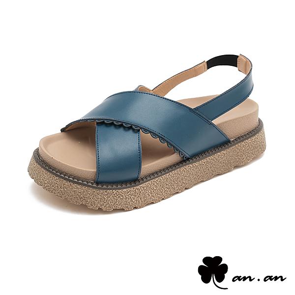涼鞋 簡約率性交叉真皮厚底涼鞋(藍) * an.an【18-850b】【現貨】