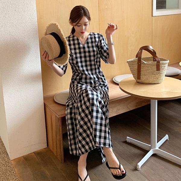 連身裙.清新V領格紋公主袖修身剪裁魚尾長洋裝.白鳥麗子