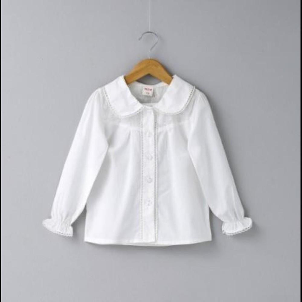 兒童寶寶女童白色刺繡娃娃領純棉長袖短袖襯衫打底衣襯衣
